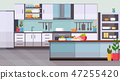 food on table modern kitchen interior design empty no people room contemporary appliances cooking 47255420