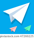 Handmade white paper plane vector icon set in isometric flat style isolated on blue background 47260225
