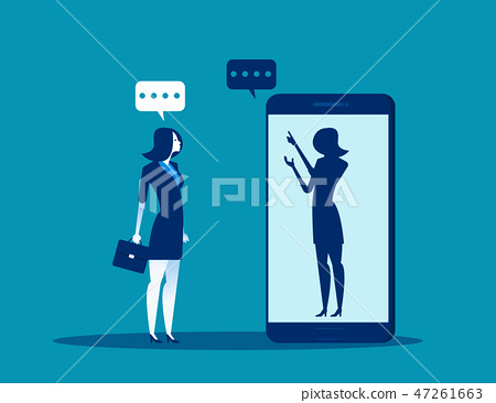 Businesswoman talking with anonymous person 47261663
