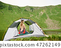Attractive naked woman in camping 47262149