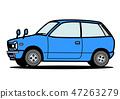 復古迷你車藍色車圖 47263279