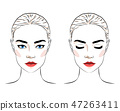 Set of beautiful woman with bun hairstyle and elegant makeup 47263411