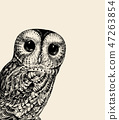 Cute Owl Illustration. Retro Owl Vector Illustration. Baby Owl Black on a White. Can Be Used for t 47263854