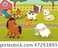 Farm Animal Happy Character Vector Illustration 47263893