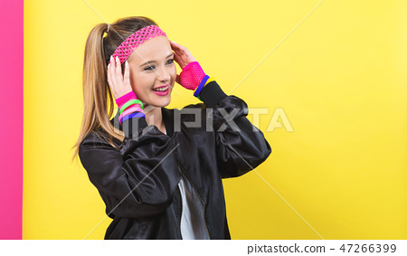 Woman in 1980's fashion theme 47266399
