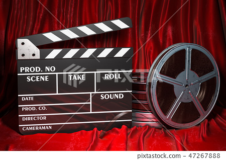 Cinema concept. Clapperboard with and film reels 47267888