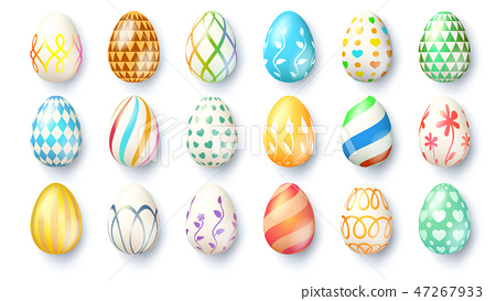 Big set of Easter eggs isolated on white 47267933