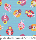 Floating devices in a pool seamless pattern. Women with sunhats on floaties chilling in the pool. 47268128