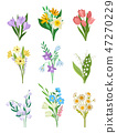 Flat vector set of spring bouquets. Beautiful flowers. Garden plants. Nature and botany theme 47270229
