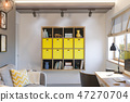 3d illustration of interior design concept for home office  47270704