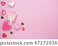 Table top view of decoration valentine's day. 47272036
