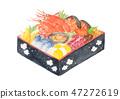 Osechi Osechi Osechi烹調水彩新年傳統食物 47272619