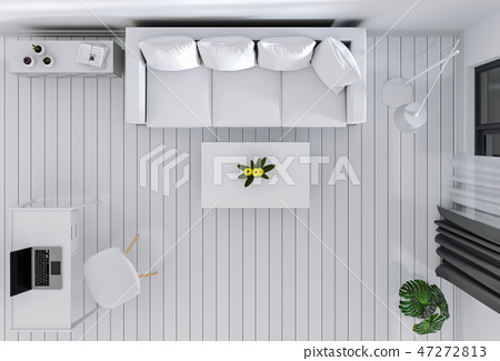 top view of interior modern living room 47272813