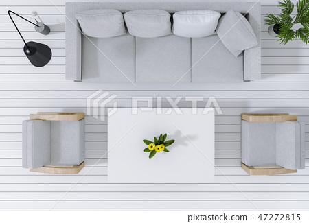 top view of interior modern living room 47272815