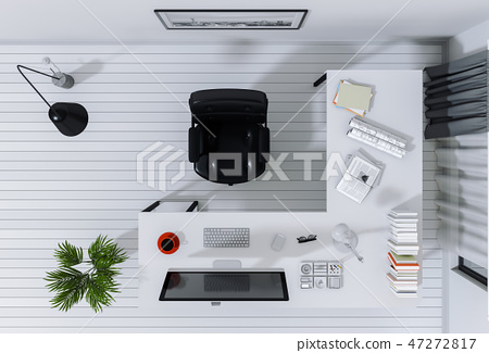 office with desktop computer top view 47272817