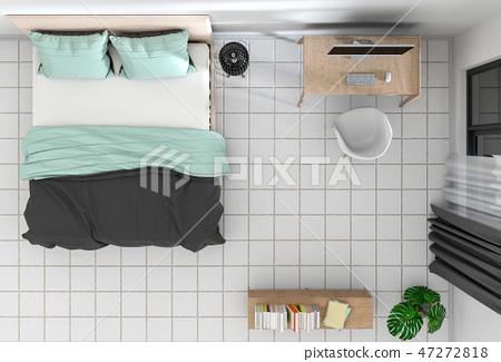 top view of interior bedroom. 3D render 47272818