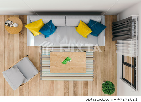 top view of interior modern living room 47272821