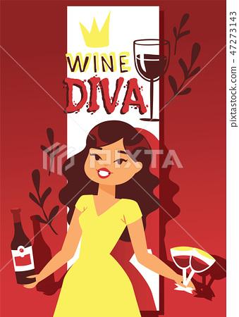 Wine Lover Banner Vector Illustration Cartoon Stock Illustration 47273143 Pixta