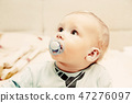 Young baby boy with a dummy in his mouth portrait 47276097