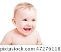 Cute happy baby laughing on white 47276118