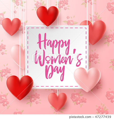 Happy International Women's Day with flowers backg 47277439