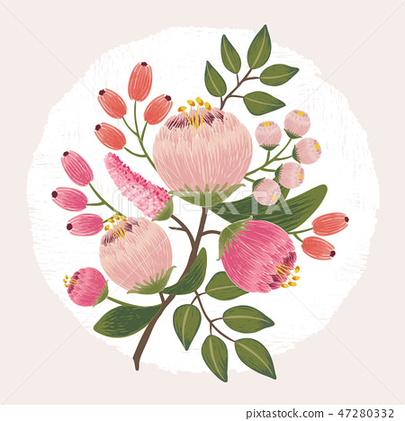 Vector illustration of a floral bouquet 47280332
