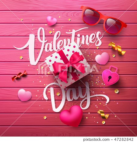 Valentine's Day Poster with sweet gift,sweet heart 47282842