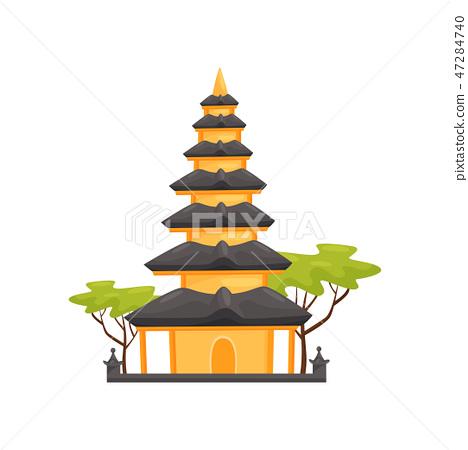 Pura Ulun Danu Bratan temple. Indonesian landmark in Bali. Historical building. Travel to Asia. Flat 47284740