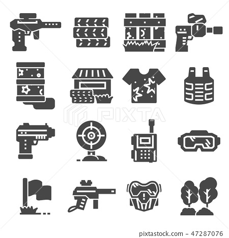 Vector illustrations Paintball game gray icons set 47287076