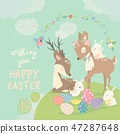 Cartoon Deers with cute bunnies. Happy animals for Easter. 47287648