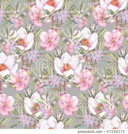 美丽优雅的水彩玫瑰花和牡丹花花卉插画 47288273