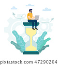 Businessman with laptop sitting on big hourglass. 47290204