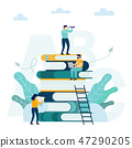 Man sitting and reading on a huge pile of books. 47290205