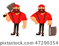 Lumberjack. Handsome logger. Cartoon character 47290354