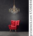 armchair, chandelier, furniture 47290848