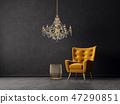 armchair, chandelier, furniture 47290851