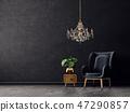 armchair, chandelier, furniture 47290857
