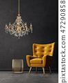 armchair, chandelier, room 47290858
