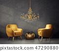 armchair, golden, chandelier 47290880