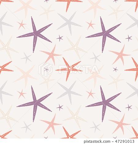 Seamless pattern with starfish 47291013