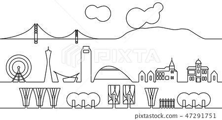 City line drawing Kobe monochrome 47291751