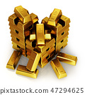 Gold bars on a white background. 47294625
