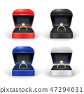 Realistic Detailed 3d Gold Ring Box Color Set. Vector 47294631