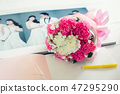 bouquet on the wedding photo book 47295290