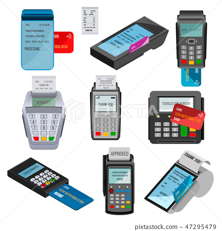 Payment machine vector pos banking terminal for credit card paying through machining cardreader or 47295479