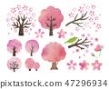 Cherry tree watercolor set 47296934
