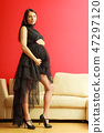 Stylish pregnant woman in black. 47297120