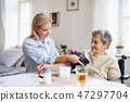 A health visitor measuring a blood pressure of a senior woman at home. 47297704