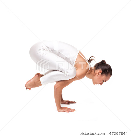 young beautiful woman yoga posing. isolated 47297844