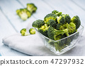 Fresh broccoli in bowl on kitchen table 47297932